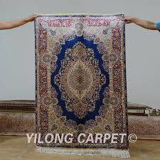 yilong 3 x4 5 antique persian silk blue carpet hand knotted turkish oriental