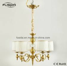 5 lamps bronze fabric round lampshape chandelier lighting with crystal