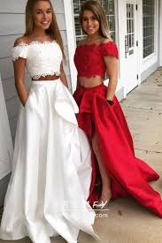 Designer Prom Dresses Beaded Off White Red Two Piece Designer Prom Dress