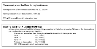Sri Lanka Foreign Company Registration Fees Service Process