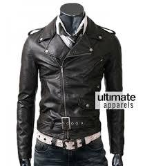 belted rider men s slim fit biker black leather jacket 165 00
