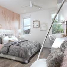 Contemporary Girls Room with Pink Accent Wall