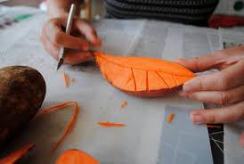 textile block printing vegetable diy paint stamp fabric art