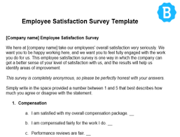 Employee Satisfaction Survey Free Template