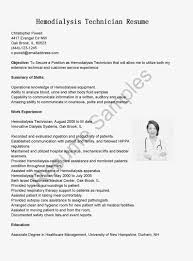 Dialysis Technician Resume Cover Letter dialysis technician resume sample Thebeerengineco 5