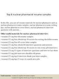 Nuclear Pharmacist Sample Resume