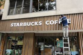 starbucks sign letters. Wonderful Letters FileWorker On Ladder Renewing Sign Letters Of Starbucks Taipei Sanmin  Store 20150613jpg On Sign Letters