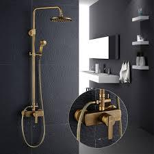 Auralum Duschsystem Dusch Set Luxus Retro Design 200x200mm Regendusche Kopfhandbrause Höhe Einstellbar