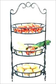 3 tier fruit stand metal basket 2 tiered kitchen produce wood