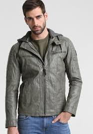 tom tailor faux leather jacket beluga grey men clothing jackets