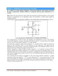 Transistor Configuration Comparison Chart J Srinivasa Rao Small Signal Low Frequency Transistor