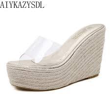 AIYKAZYSDL Bohemian Women <b>Sandals</b> Summer <b>Clear Flip Flops</b> ...