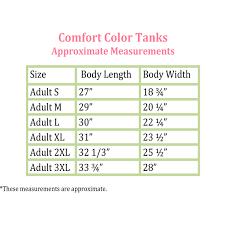 Comfort Colors Tank Size Chart Buurtsite Net