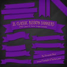 Purple Ribbon Banner Violet Ribbon Banner Clipart
