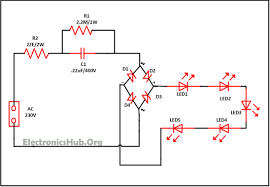 led lighting circuit diagram ireleast info mains operated led light circuit working and advantages wiring circuit