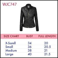leather jacket size chart mbj womens faux leather zip up moto biker jacket with stitching