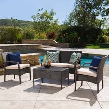 Christopher Knight Home Cordoba Outdoor 4 piece Wicker Chat Set with Cushions home depot Patio Furniture
