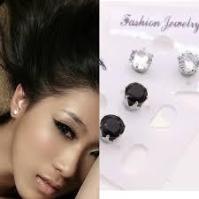 Unisex Non Piercing Magnetic Magnet Ear Stud Fake Crystal Earrings