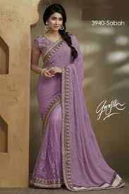 Light Purple Color Saree Pyaji Embroidery Georgette Net Fancy Saree With Blouse