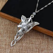 details about lord of the rings arwen s necklace arwen evenstar pendant crystal silver plated