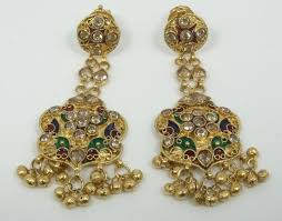 lot 9 solid 22k yellow gold chandelier earrings w multi colored enamel and