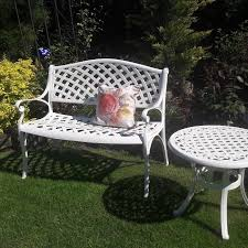 white metal outdoor furniture. The White Jasmine Garden Bench Is An Elegant Looking That Metal Outdoor Furniture