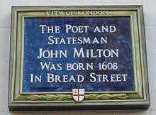 john milton  blue plaque in b street london where milton was born
