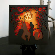 The <feoffset> element is used to create drop shadow effects. Halloween Shadow Box Diy Paper Cut Svg File For Instant Etsy