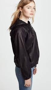 vince leather zip up hoo