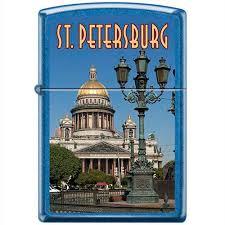 <b>Зажигалка Исакиевский</b> собор с покр. Cerulean синяя <b>Zippo</b> ...