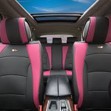 car suv truck pu leather seat cushion covers full set pink black 0
