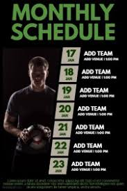 flyers scheduule sports poster templates postermywall