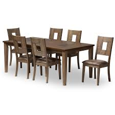modern wood dining room sets: baxton studio gillian shabby chic country cottage weathered grey and quotoakquot brown