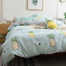 kids magic mint yellow and white pineapple print stylish cartoon themed cute style twin full queen size bedding sets