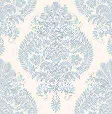 Sample Antigua Damask Wallpaper in Blue ...