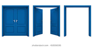 open blue double door isolated on a white background 3d illustration open drawing87 drawing