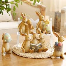 Rabbit Decorative Accessories Fairy Garden Miniature Resin Statuettes Rabbit Egg Crafts 9