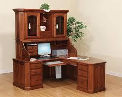 wooden corner computer desk with hutch