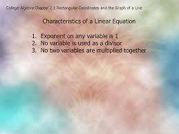 characteristics of a linear equation