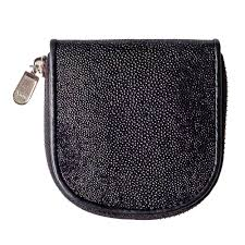 details about genuine stingray skin leather women coin purse pouch change wallet classic black