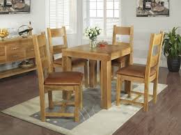 Awesome Thick Wood Square Small Kitchen Table And 4 Wooden Chairs With  Leather Cushion Featuring Solid