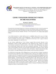 crime terrorism insurgency nexus in the  philippine institute for peace violence and terrorism research