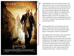 i am legend poster analysis i am legend poster analysis in big bold font the actors is shown this draws attention as he
