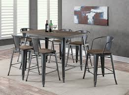 industrial dining room table and chairs. Lela Industrial Style Gray 7pc Counter Height Dining Table Set W/ Natural Wood Grain Surface Room And Chairs A