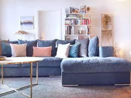 Amaris Elements Moore Ecksofa Länge 295cm Couch Samt Blau Grau Stoff Bezug Sitz Garnitur Wohnlandschaft Eckgarnitur