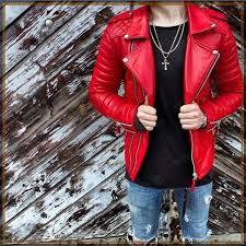 new men s genuine lambskin leather jacket red slim fit biker motorcycle jacket