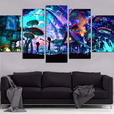 Canvas <b>Wall Art Modular</b> Pictures Home Decor 5 Pieces Rick And ...