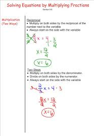 solving equations by multiplying fractions 7th grade pre algebra
