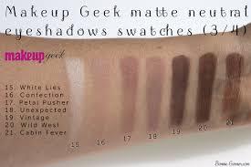 makeup geek neutral matte eyeshadows white lies confection petal pusher unexpected