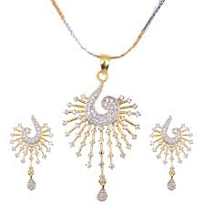 grand jewels alloy gold plated american diamond pendant set with chain earrings